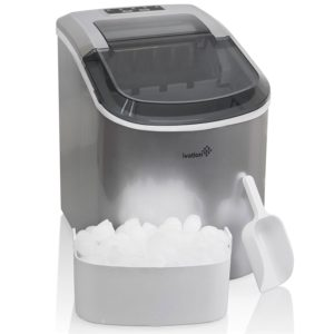 Portable Ice Maker for Counterop - Sleek Tinted Clear Top Window Design - 2 Selectable Cube Sizes - Yield Up To 26.5 Pounds of Ice Daily