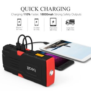 Beatit 800A Peak 18000mAh 12V Portable Car Jump Starter (Up to 7.0L Gas or 5.5L Diesel Engine) With Smart Jumper Cables Auto Battery Booster Power Pack Phone Power Bank With Smart Charging Ports