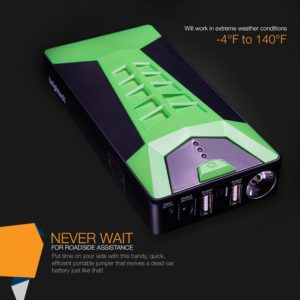 Brightech - SCORPION Portable Car Battery Jump Starter - Combination Handheld Jump Box and Battery Charger for Electronics and Mobile Devices with Carrying Case – Electric Green