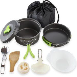 Camping Cookware Mess Kit Backpacking Gear & Hiking Outdoors Bug Out Bag Cooking Equipment 10 Piece Cookset | Lightweight, Compact, & Durable Pot Pan Bowls - Free Folding Spork, Nylon Bag, & Ebook
