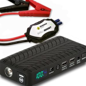 Rugged Geek RG1000 Safety 1000A Portable Car Jump Starter, Battery Booster Pack and Power Supply with LCD Display, INTELLIBOOST Smart Cables, LED Flashlight and USB & Laptop Charging