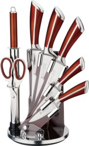 Imperial Collection Premium Stainless Steel Kitchen Knife Set With with Rotating Block Stand, Brown - 8 Piece set