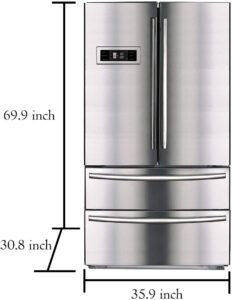 SMETA 36 Inch Counter Depth French Door Refrigerator