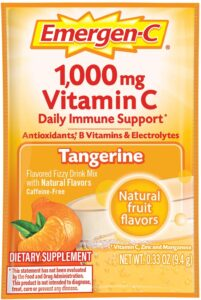 Emergen-C Vitamin C 1000mg Powder (60 Count, Tangerine Flavor, 2 Month Supply), With Antioxidants, B Vitamins And Electrolytes, Dietary Supplement Fizzy Drink Mix, Caffeine Free, 60 Count (Pack of 1)